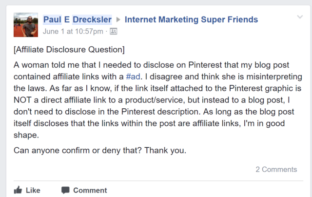 Internet Marketing Super Friends Affiliate Disclosure Question