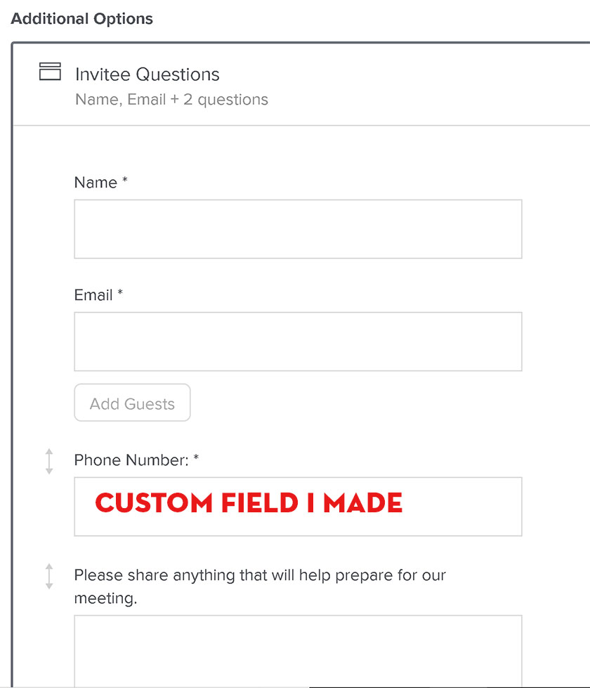 Custom field for phone number