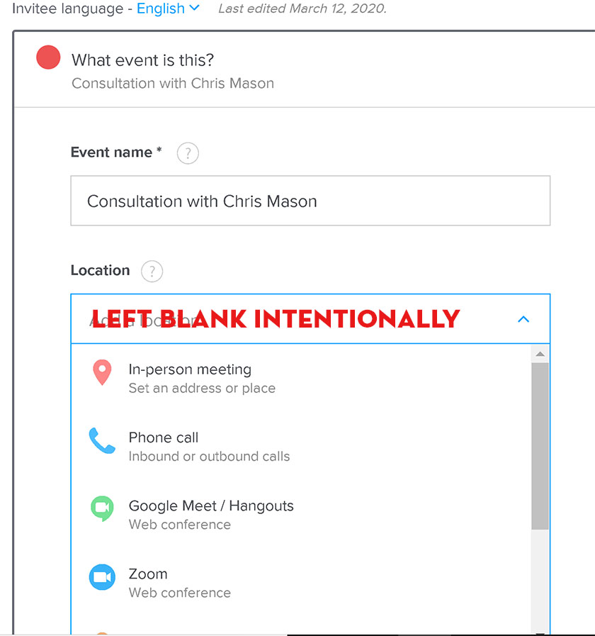 Leave location blank