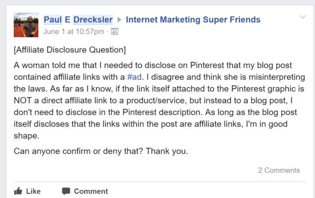 Internet Marketing Super Friends Affiliate Disclosure Question